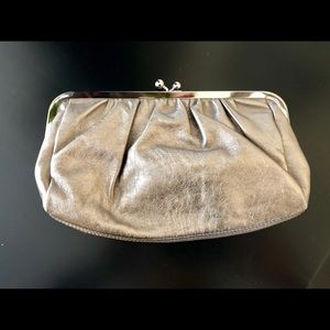 Like new! Express Silver leather clutch